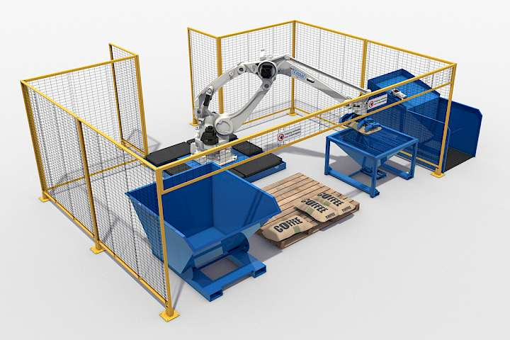 Copal baggripper Robot for unloading jute bags filled with coffee and cocoa